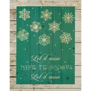 'Let It Snow Christmas Pallet Sign' Textual Art on Wood in Light Blue