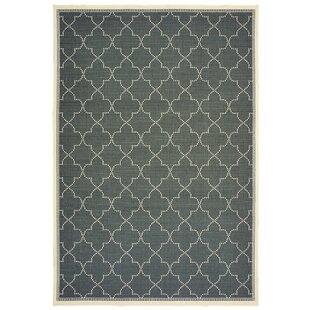 Salerno Simple Lattice Gray Indoor/Outdoor Area Rug byCharlton Home