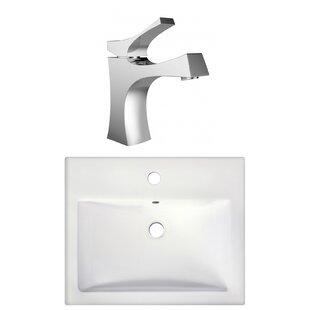 Royal Purple Bath Kitchen Semi-Recessed Rectangular Vessel Bathroom Sink with Faucet