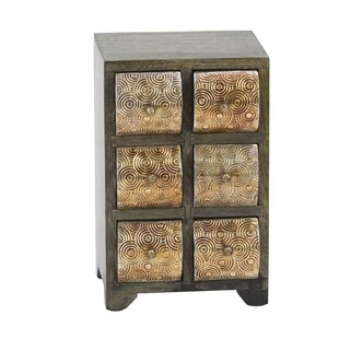 Bloomsbury Market Cincinnatus Rustic Curved Square Paneled 6-Drawer Free Standing Jewelry Armoire