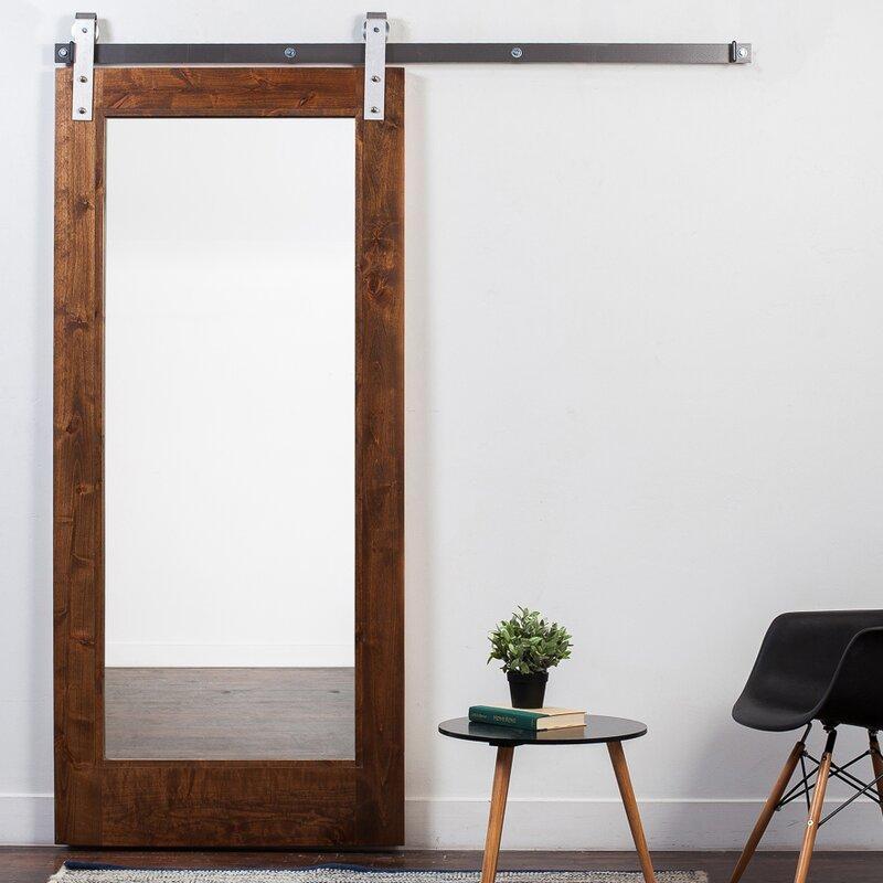 Sliding barn door with mirror wayfair wood and mirror 1 panel stained sliding barn interior door planetlyrics Images