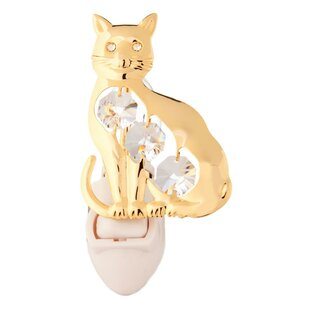 Matashi Crystal 24K Gold Plated Kitty Cat Night Light