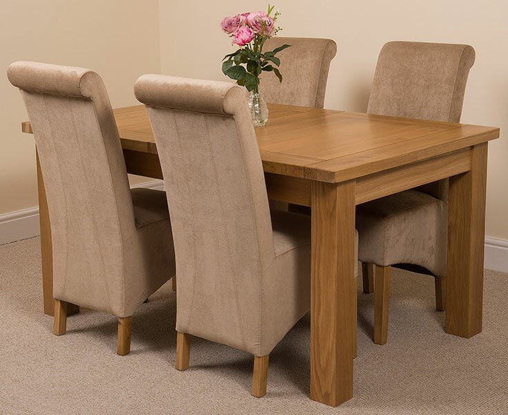 Sairsingh Kitchen Solid Oak Dining Set with 4 Chairs