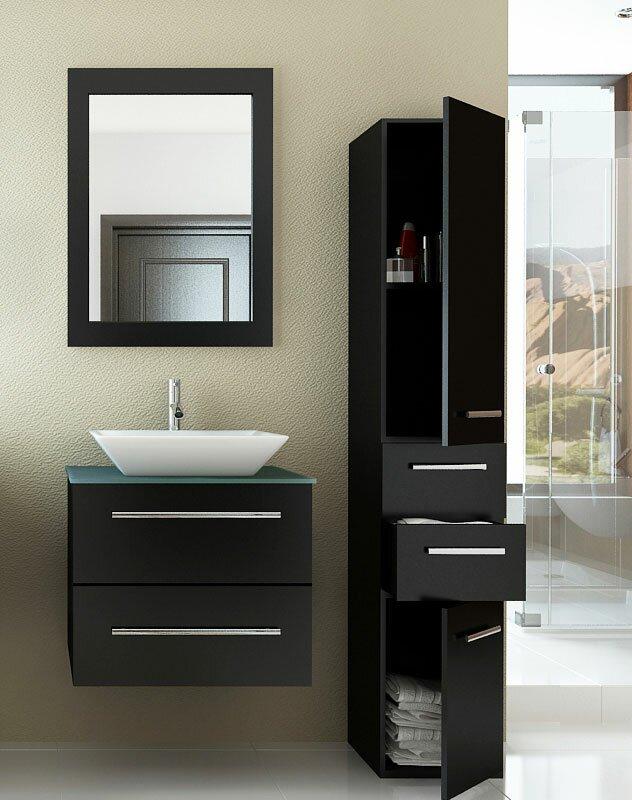 "Modern Bathroom Vanity Sets jwh living carina 24"" single vessel modern bathroom vanity set"
