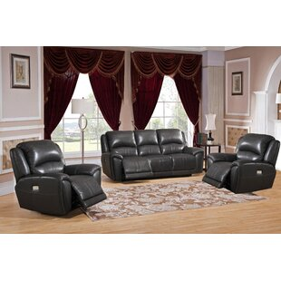 Mikel Reclining 3 Piece Leather Living Room Set