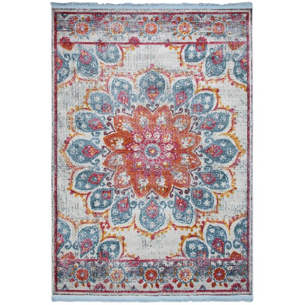 Bungalow Rose Slak Aqua Blue Red Rug Wayfair