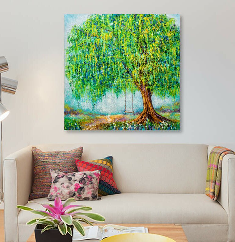 'Under The Willow Tree' By Kimberly Adams Graphic Art Print on Canvas