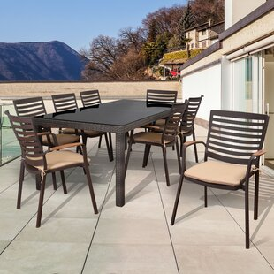 Beachcrest Home Elsmere Patio 9 Piece Dining Set with Cushions