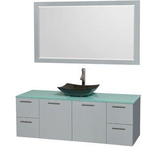 Amare 60 inch  Single Dove Gray Bathroom Vanity Set with Mirror