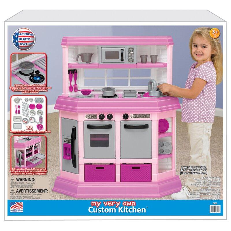 american plastic toys 22 piece custom kitchen set reviews wayfair rh wayfair com American Plastics Kitchen Pink American Plastic Playtime Kitchen