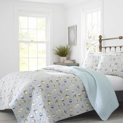 Laura Ashley Cockatoo Bay Cotton Reversible Quilt Set by