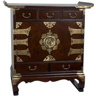 Korean 5 Drawer End Table Accent Cabinet