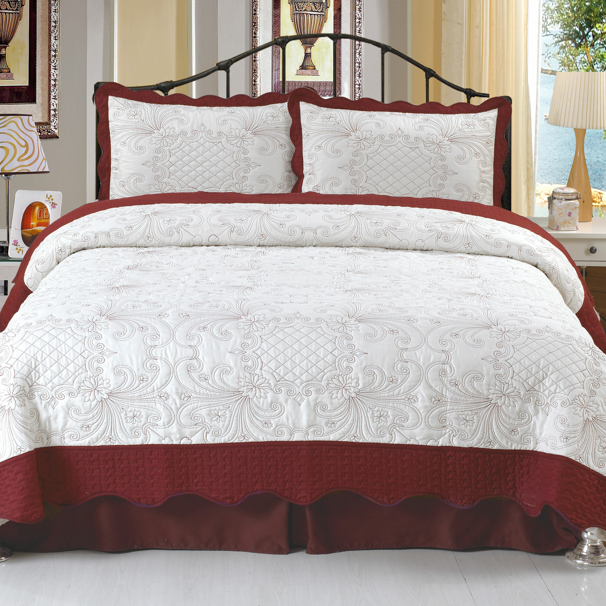 Lavish Home Juliette Embroidered Quilt Set Reviews Wayfair