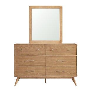 Leominster 6 Drawer Dresser with Mirror