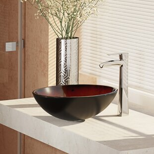 Glass Circular Vessel Bathroom Sink with Faucet By René Elkay