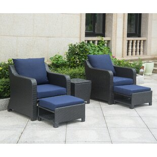 Sky 5 Piece Rattan Conversation Set with Cushions (Set of 5)