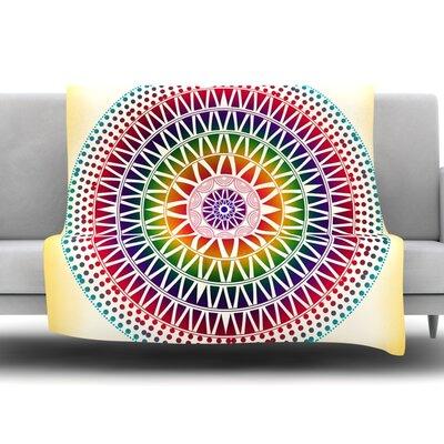 east urban home colorful vibrant mandala by famenxt fleece throw