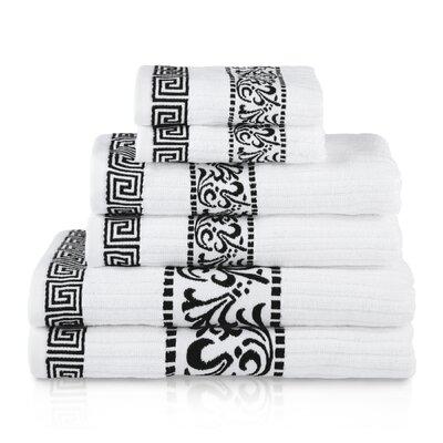 House of Hampton Smithton 6 Piece 100% Cotton Towel Set Color: Black