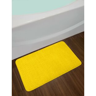 Modern Yellow Yellow Bath Rug
