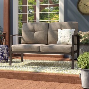 Pavilion Aluminum Loveseat with Cushions by Three Posts
