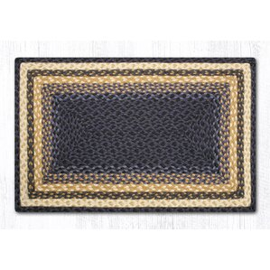 Light Blue/Dark Blue/Mustard Braided Area Rug