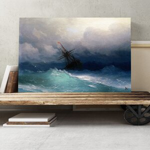 'Ship on a Stormy Sea' by Ivan Aivazovsky Painting Print on Canvas