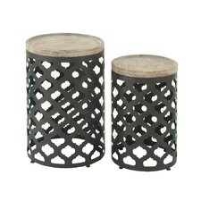 2 Piece Metal Wood End Set by Cole & Grey