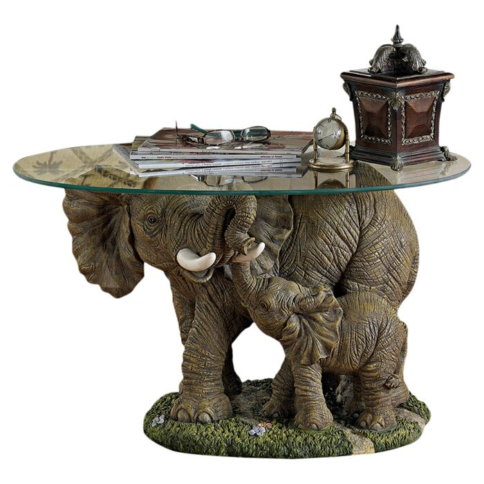Elephant's Majesty Coffee Table with Glass Top - Design Toscano Elephant's Majesty Coffee Table With Glass Top