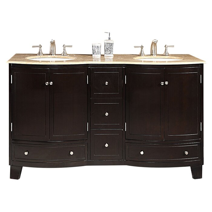 Silkroad exclusive naomi 60 double sink cabinet bathroom vanity set - Silkroad Exclusive Naomi 60 Quot Double Bathroom Vanity Set