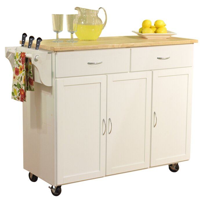 Alcott Hill Sayers Kitchen Island With Wood Top