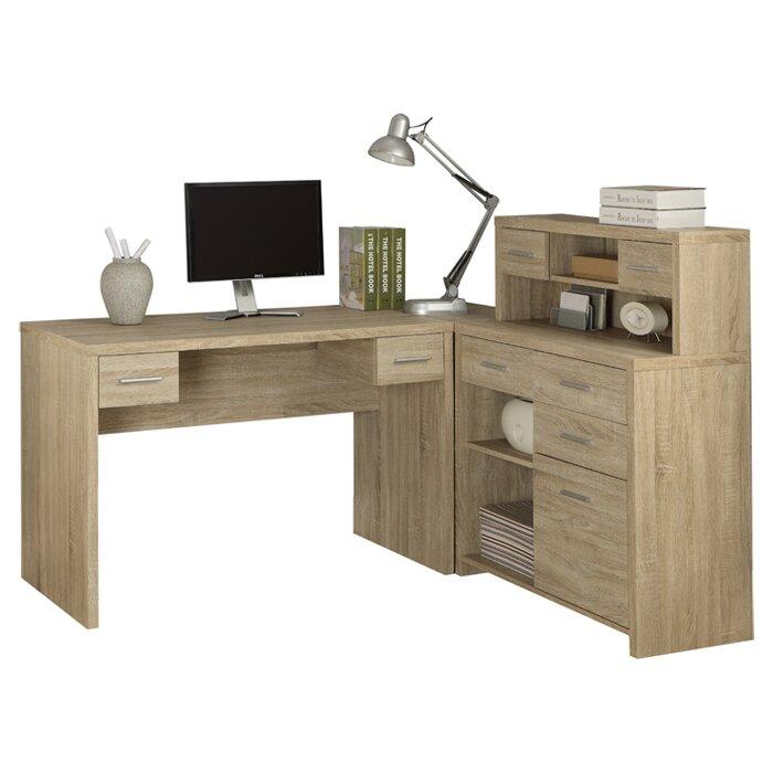 latitude run milford corner l shaped computer desk with hutch reviews wayfair. Black Bedroom Furniture Sets. Home Design Ideas