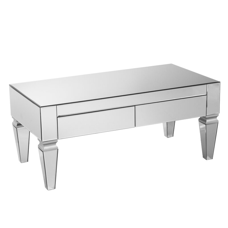 Willa arlo interiors kacie mirrored rectangular coffee for Mirrored rectangular coffee table