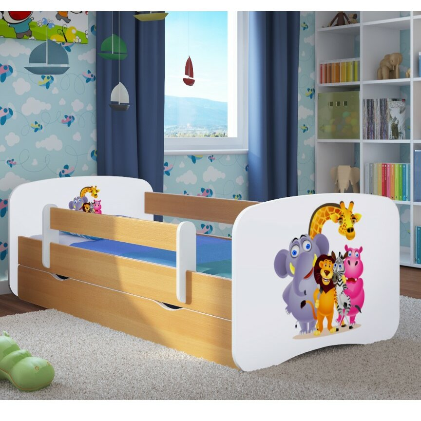 kocot kids kinderbett zoo mit matratze und schublade. Black Bedroom Furniture Sets. Home Design Ideas