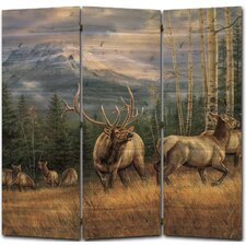 55 x 55 Back Country Elk 3 Panel Room Divider by WGI-GALLERY