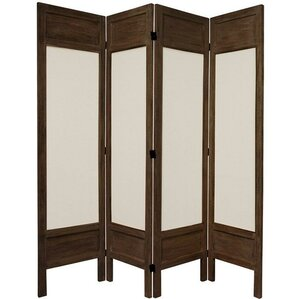 67 Tall Solid Frame Fabric 4 Panel Room Divider