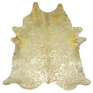 Extra Large Brazilian Cowhide Gold Area Rug