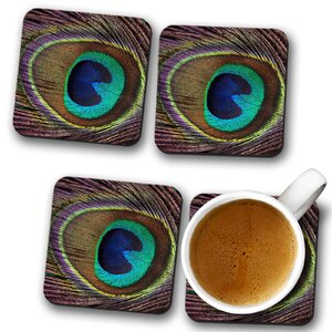 Peacock Feather Coaster (Set of 4)