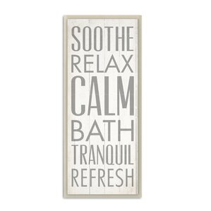 u0027soothe relax calm bathu0027 textual art on wood u0027