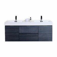 """Ouzts 60"""" Double Wall Mount Modern Bathroom Vanity Set"""