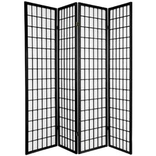 Noan 70 x 56 Window Pane Shoji 4 Panel Room Divider by World Menagerie