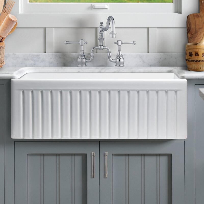 Sutton Place Reversible Single Bowl Fluted Front Fireclay 33 X 18 Farmhouse Kitchen Sink