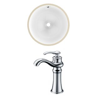 Great Price Ceramic Circular Undermount Bathroom Sink with Faucet and Overflow ByAmerican Imaginations