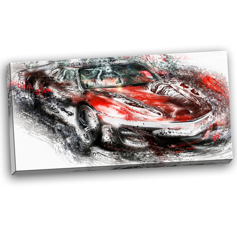 Designart Black And Red Sports Car Graphic Art On Wrapped Canvas Wayfair