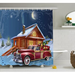 Wooden Lodge with Truck Shower Curtain ByEast Urban Home