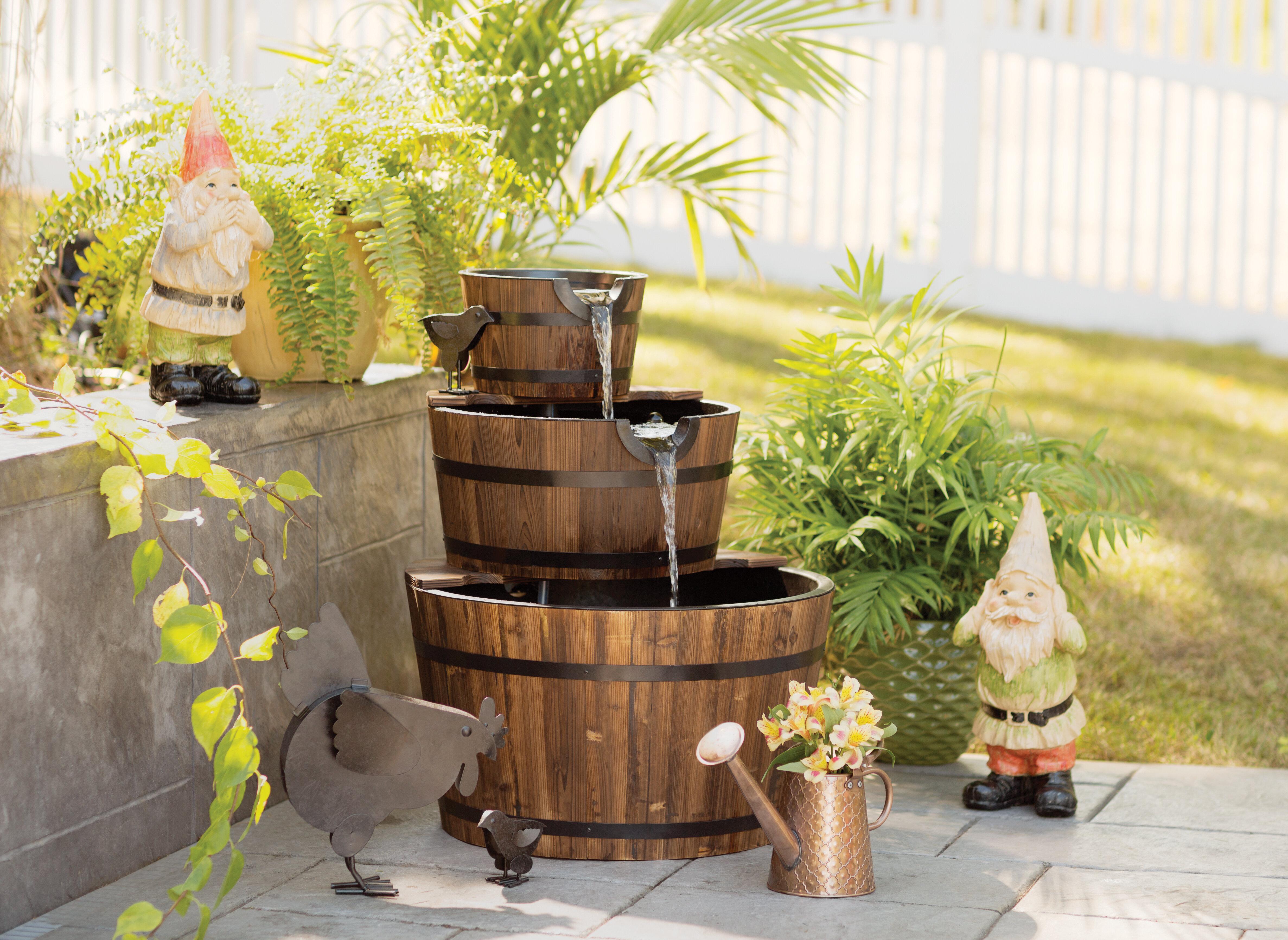 Zingz & Thingz Wood Barrel Trio Fountain & Reviews | Wayfair