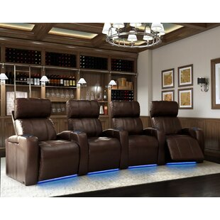 Latitude Run Sleek Home Theater Row Curved Seating with Chaise Footrest (Row of 4)