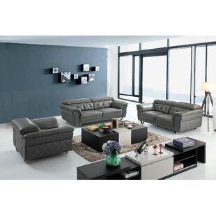 Orren Ellis Coalpit Heath Leather 3 Piece Living Room Set