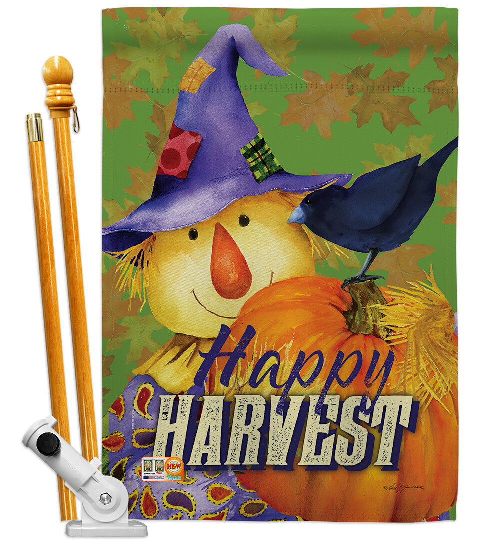 Breeze Decor Bo Happy Harvest Scarecrow 2 Sided Polyester 40 X 28 In Flag Set Wayfair