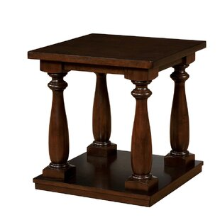 Beam Wooden End Table with Storage