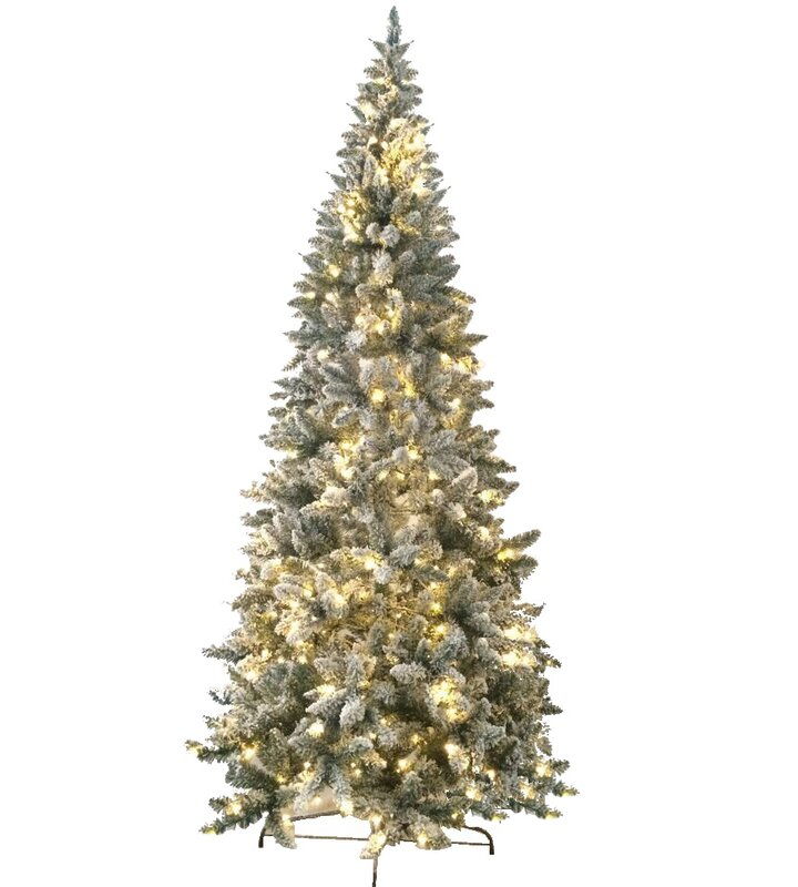 8 flocked magnolia fir artificial christmas tree with 450 led warm lights and metal stand